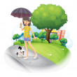 A lady holding an umbrella with a dog along the road — Stock Vector