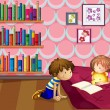 A girl and a boy reading inside a room — Stock Vector