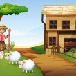 An old man at the farm with three sheeps — Stock Vector