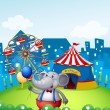 An elephant with balloons in front of a carnival — Stock Vector