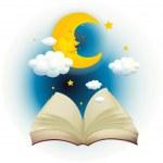 An empty open book with a sleeping moon — Stock Vector #26545261