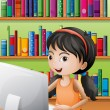 A young girl using the computer at the library — Stock Vector