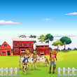 A cowboy and a cowgirl at the farm — Stock Vector