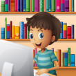 A boy using the computer inside the library - Imagen vectorial