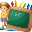A boy beside a board with crayons at the back — Stock Vector #26545281