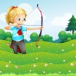 A girl at the garden holding a bow and an arrow - Stock Vector