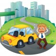 A car accident in the curve road near the empty signboard — Stock Vector
