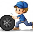 A boy pushing a wheel — Stockvectorbeeld