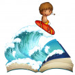 An open book with a boy surfing — Stock Vector