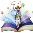 An open book with an image of a cowboy riding on a horse — ストックベクタ