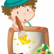A little boy painting — Stock Vector