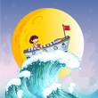 A girl reading on a boat at the top of the big wave — Stock Vector #26545503