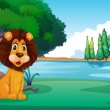 Stock Vector: A lion sitting along the river