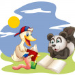 A panda, a duck and a worm reading — Stock Vector