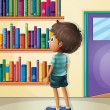 Royalty-Free Stock Vector Image: A boy inside the library