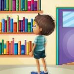 A boy inside the library — Stock Vector #26545629