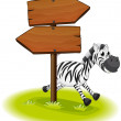 Royalty-Free Stock Vektorgrafik: A zebra at the back of a wooden arrow board