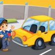 A boy standing in front of a car with a flat tire — Stock Vector