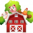 A sheep, a pig and a chicken hiding at the back of a barn — Stock Vector