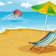 A boy swimming at the beach with a chair and an umbrella — Stock Vector