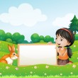 A girl holding an empty blank board with a rabbit — Stock Vector #26546063