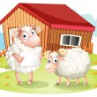 A sheep holding an empty signage at the back of the barn — Stock Vector