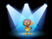 A stage with a lion waving in the middle — Stock Vector