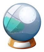 Eine kristallkugel mit einem bild von einem vollmond — Stockvektor