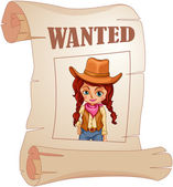 A poster of a wanted cowgirl — Stock Vector