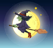 A witch riding with her broomstick — Stock Vector
