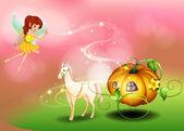 A fairy and a pumpkin cart — Stock Vector