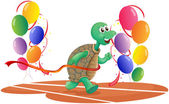 A turtle running with colorful balloons — Stock Vector