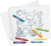一份文件,一种不同的海生物绘图 — 图库矢量图片