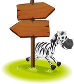 A zebra at the back of a wooden arrow board — Stock Vector