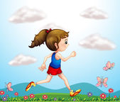 A girl running with butterflies — Stock Vector