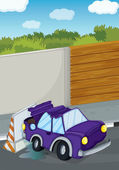 A violet car bumping the wall — Stock Vector