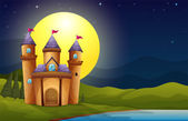 A castle in a full moon scenery — Stock Vector