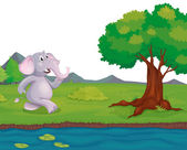 An elephant at the riverbank — Stock Vector