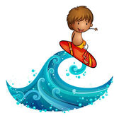 Ein kleiner Mann, Surfen — Stockvektor