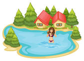 A girl with a purple bikini swimming at the beach with pine tree — Stock Vector