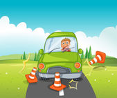 A boy riding on a green car bumping the traffic cones — Stock Vector