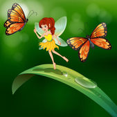 A fairy standing in a leaf with butterflies — Stock Vector
