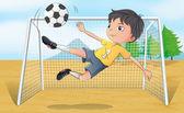 A soccer player kicking a soccer ball — Stock Vector
