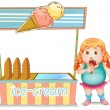 A fat girl eating an ice cream beside the ice cream stand - Stock Vector