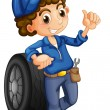 Royalty-Free Stock Imagen vectorial: A man with a wheel at his back