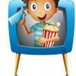 A boy inside the TV with a popcorn and a ticket — Stock Vector