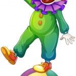 A clown standing above the ball — Stock Vector