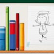 A paper with a drawing of a girl beside the books at the shelf — Stock Vector