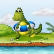 A crocodile at the riverside with a buoy — Imagen vectorial
