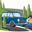 A curve road with a boy and a car — Stock Vector
